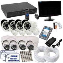 Kit Segurança 8 Cameras Infra 2000 Linhas + Hd 1tb + Monitor