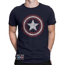 Camisa, Camiseta Capitão América Escudo Desgastado Marvel