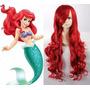 Peruca Longa Vermelha Princesa Sereia Ariel Cosplay 70 Cm