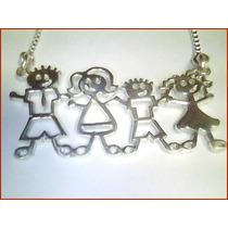 Cordão C / Pingente Família Feliz Em Prata 950