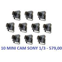 10 Mini Cameras Ccd 1/3 Day Night 1000linhas + Fonte 5a