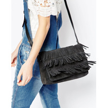 Hermosa Cartera Pieces Cuero Genuino Gamuza Negro Flecos