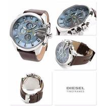 Relógio Masculino Diesel Dz4281fundo Azul Pulseira Couro