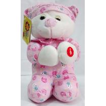 Urso De Pelúcia 30cm Que Reza O Pai Nosso Rosa Fofy Toys