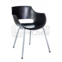 Conjunto Com 2 Cadeiras Design Fixa Empilháveis - Preto