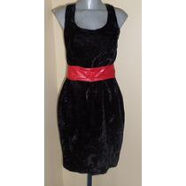 Santa Fe Vestido Negro Tela De Terciopelo Talla 32