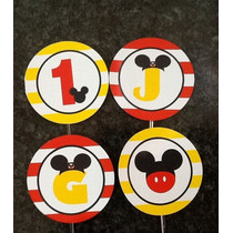 100 Mini Toppers / Totens / Tags Mickey Mouse