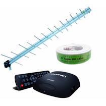 Antena Uhf Digital Externa 20dbi Hdtv + Conversor E Cabo 14m