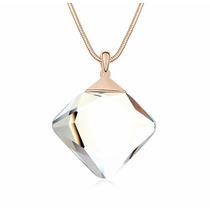 Collar Enchapado En Oro De 18k Y Cristal De Zirconia