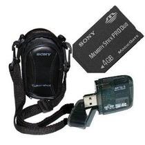 Cartão Memória Sony Pro Duo 4gb+ Leitor + Bolsa P/ Dsc-w230