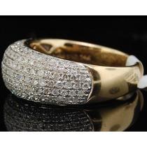 Lindo Anel De Ouro Com 1 Quilate De Diamantes