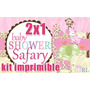 Kit Imprimible Baby Shower Safari Girl 2x1