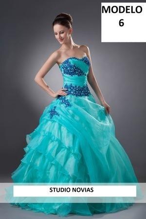 5b24dbc17 Vestido Para Quince Años 15 Años Xv Años Azul Menta Buen Fin -   2