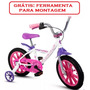 Bicicleta Infantil Aro 14 Branco Rosa Alumínio Nathor Menina