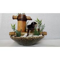 Fonte Agua Cascata Bambu Artesanal 2 Quedas Ceramica Pedras