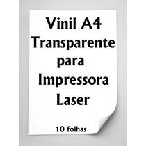 Vinil Adesivo A4 Transparente Impressora Laser - 10 Folhas