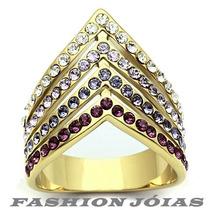 Anel Multicor Cravejado Zirconias Folheado A Ouro 18k Luxo