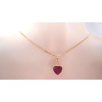 Pingente Coração Cor Rubi Água Marinha Ametista De Ouro 18k
