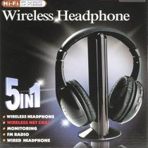 Fone De Ouvido Sem Fio 5 Em 1 Wireless C/ Fm Radio