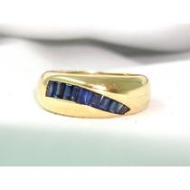 Pocao2005-anel Ouro18k 750 Safiras Frete Gratis!