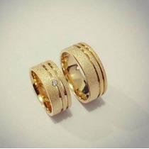 Aliança Em Prata Banhada A Ouro 18k Jateada Com 8mm