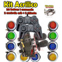 Kit Arcade 2 Comandos 20 Botoes 2 Controles Usb 2 Chicotes