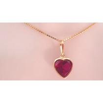 Cordão Pingente Brincos Coração Pedra Vermelha De Ouro 18k