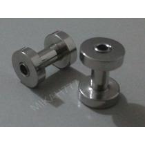 Par Alargador Piercing 3mm Aço Cirúrgico Antialérgico Prata