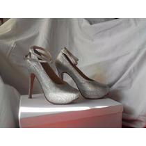 Zapatos Stilettos Glitter Plata C/ Plataforma. Fiesta De 15