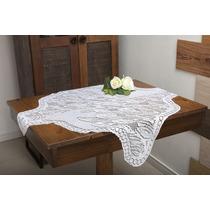 Toalha De Mesa Quadrada Branca Com Estampa De Tulipas 75x75