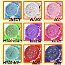 Reloj Pulsera Geneva Malla De Silicona X10