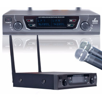 Microfone Uhf Sem Fio Duplo Amb2h Beta58 Até 90 Metros