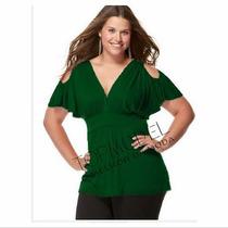 Blusa Modelo Plus Size Decote Em V Franzidos Viscolycra