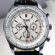 Relógio Importado Masculino Jaragar Branco Em Couro Aro Liso