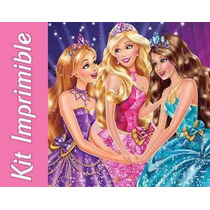 Kit Imprimible Barbie Escuela De Princesas Invitaciones #6