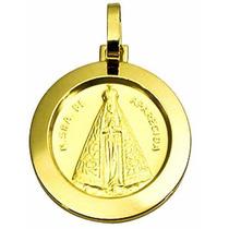 Pingente Medalha Redonda Nossa Senhora Aparecida Ouro 18 A,u