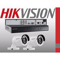 Kit 2 Camaras Hd Dvr Hikvision 4 Canales Full Hd 1080p