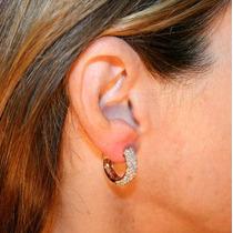 Brincos Argola Em Ouro Rosê 18k E Diamantes