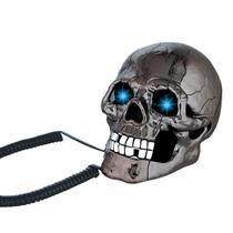 Telefono Fijo Forma De Craneo Calavera Negro Metalico