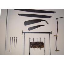 Jogo De Trados Antigos - 5 Peças Em Ferro E Aço