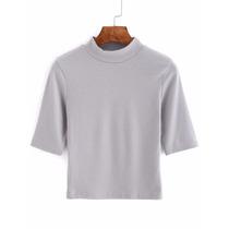 Polo Cuello Redondo Crop -gris Importada Moda Hispter