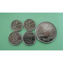Moedas 1 / 5 / 10 / 50 Centavos E 1 Cruzado Novo 1989 Serie