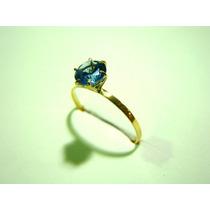 Anel Pedra Zircônia Azul Água Marinha De 6mm Joia Ouro 18k
