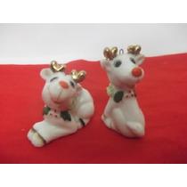 B. Antigo - Casal De Renas Miniatura Em Porcelana Japonesa