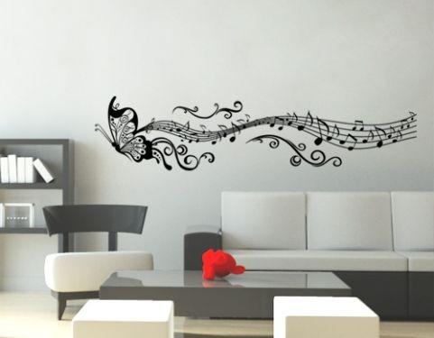 Adesivo decorativo papel parede borboleta com notas musicais r 69 90 em mercado livre - Papel para paredes decorativo ...