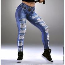 Calça Legging Imita Jeans, Lipsoul, Fitness, Original, Pit