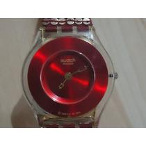 Reloj Swatch Skin Red Fashion De Chaquira Y Lentejuela