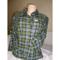Camisa Xadrez Femenino Mangas7/8 Xadrez De Algodão