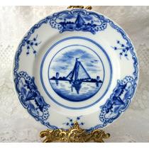 Antigo Prato Delft Veleiro Borrão Azul