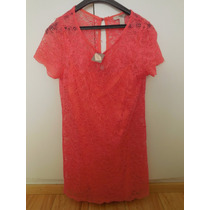 Vestido De Encaje Color Salmon - Forever 21 - Talle M